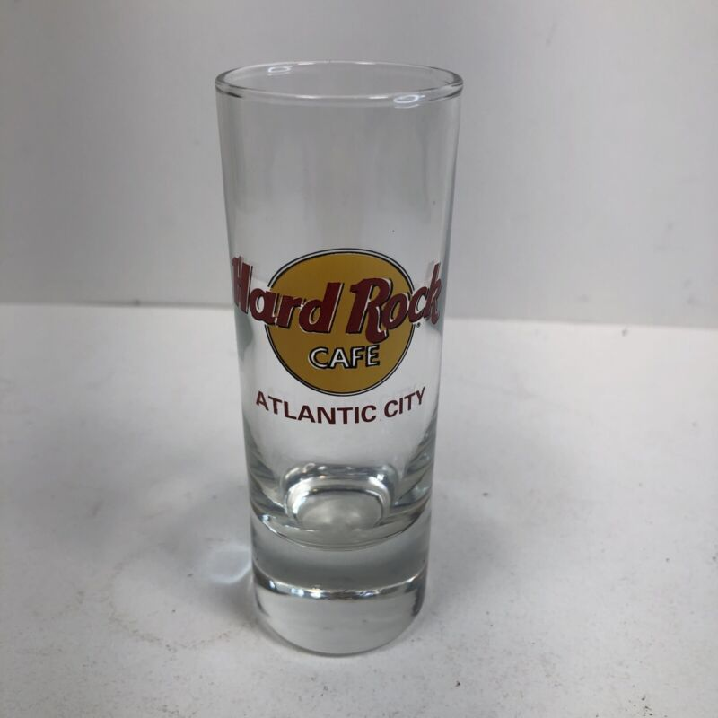 """Hard Rock Cafe Double Shot Glass Red Lettering - 4"""" Tall - Atlantic City"""