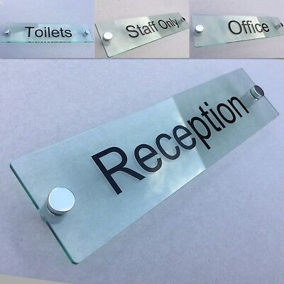 Clear Acrylic Wall Plaque - QUALITY CLEAR GLASS ACRYLIC OFFICE DOOR SIGN / WALL SIGN / PLAQUE + FITTINGS