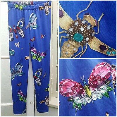 Gaelle Bonheur Leggings Sz S/M Pants Butterflies Flowers Gems Bees ITALY Made