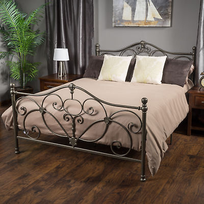 Bedroom Furniture Champagne Iron Metal King Size Bed Frame
