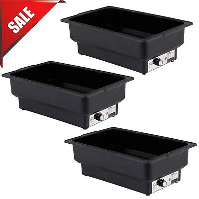 3 Pack Electric Fuel Chafer Chafing Dish Steam Full Food Water Pan Table Warmer