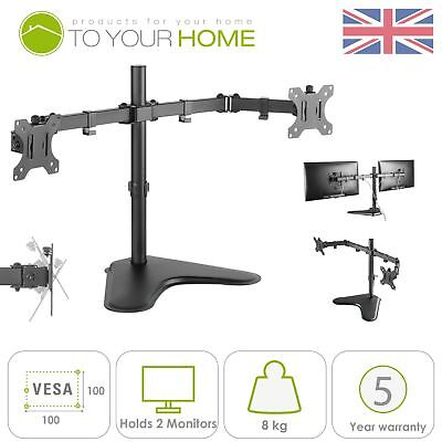 """Double Arm Desk Mount - Dihl Double Dual Display Computer Monitor Arm Mount Desk Stand 13-27"""" Screen LED"""