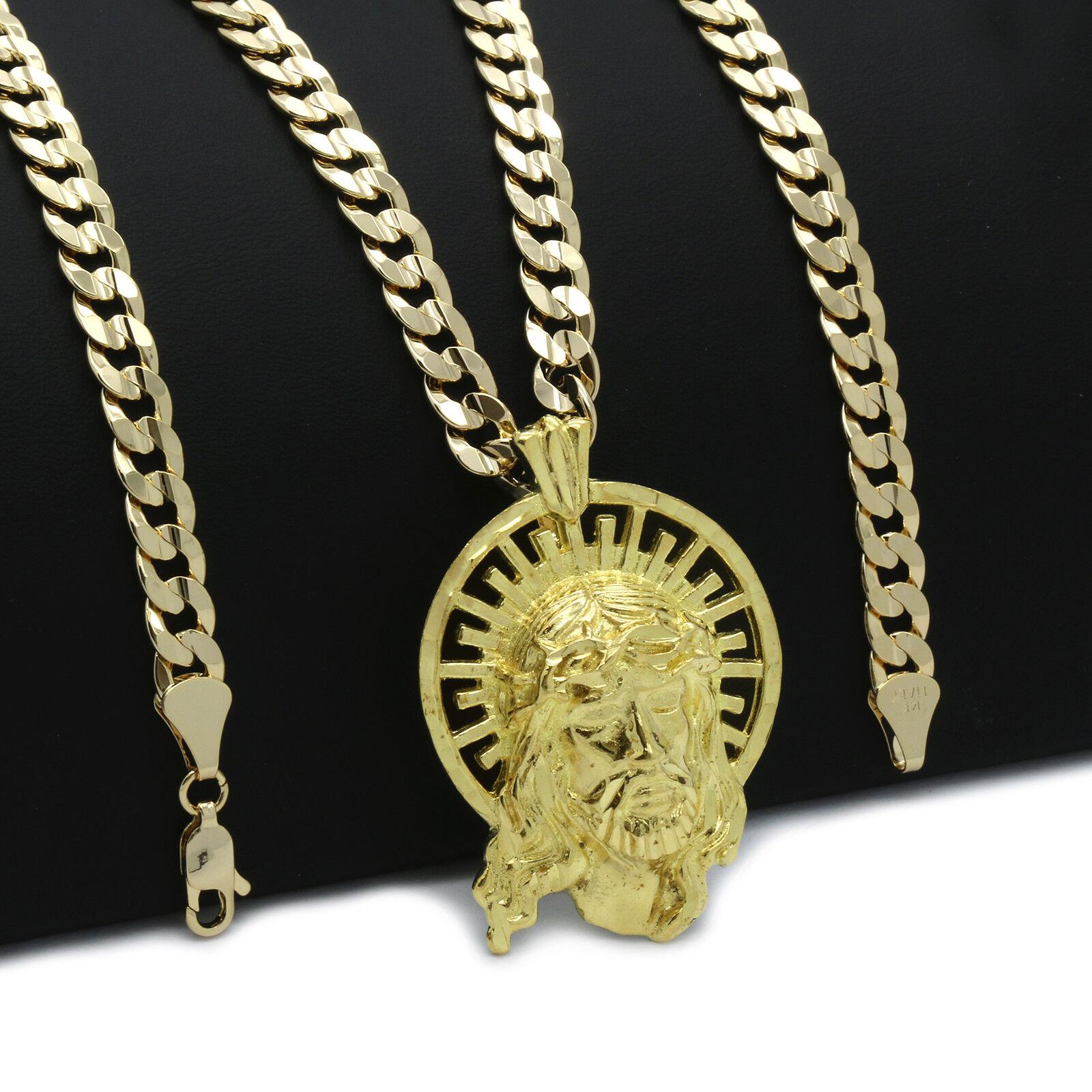 Mens 18k Gold Plated JESUS Halo  Hip-Hop Pendant 6mm Cuban C