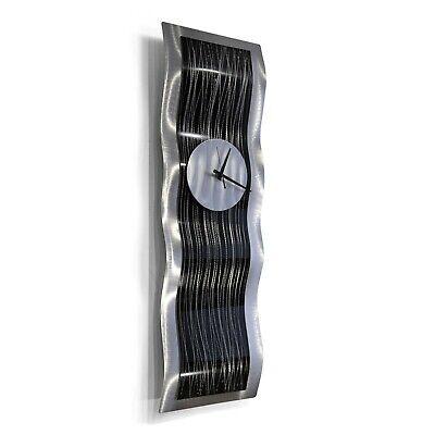 Statements2000 Modern Metal Wall Art Clock Abstract Black Silver Decor Jon Allen Willow Wall Sculpture