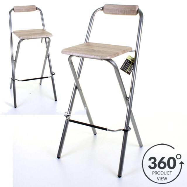 Folding Wooden Bar Stool Chair Breakfast Kitchen Seating Silver Frame Seat Home  sc 1 st  eBay & Folding Bar Stool   eBay islam-shia.org