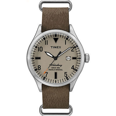 Timex Men's Waterbury Leather Slip-Through Strap Date Tan Dial Casual TW2P64600