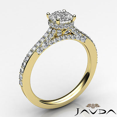 Circa Halo Pave Setting Round Diamond Engagement Ring GIA Certified F SI1 1.15Ct 1