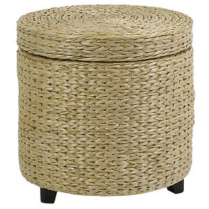 ROUND STORAGE OTTOMAN STOOL/SIDE TABLE SEAT WOVEN WICKER RATTAN STYLE FURNITURE