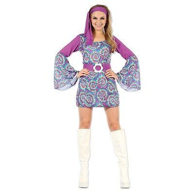 ADULT'S GROOVY PSYCHEDELIC HIPPY LADY 1960'S COSTUME WOMEN'S FANCY DRESS - Women's 1960's Groovy Lady Kostüm