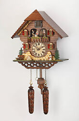 German hand carved cuckoo clock quartz-Black Forest -12 tunes & turning dancers