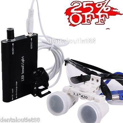 Blackdental Surgical Binocular Loupe 3.5x420mm Led Head Light Sale 25off