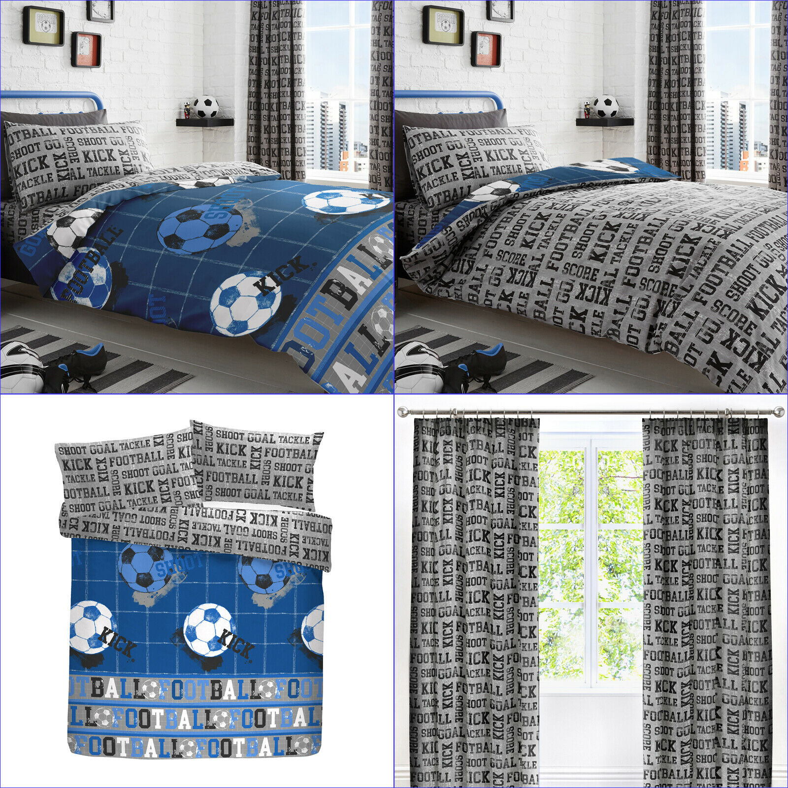 Football Goal Fishing Tackle check Grey Cotton Blend Duvet Cover 3 Sizes
