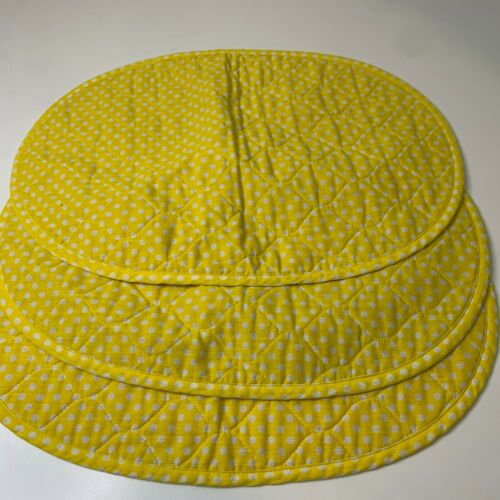 vintage placemat set 3 yellow polka dot round oval shaped yellow green daisy