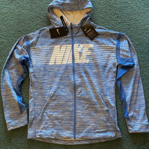 NWT Nike Boys YXL Light Blue/White Therma Fit Zip Up Hoodie Sweatshirt XL