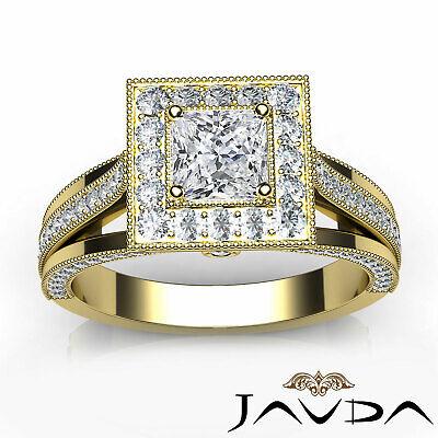 Milgrain Bezel Princess Diamond Engagement Split Shank Ring GIA F VVS1 1.40 Ct 10