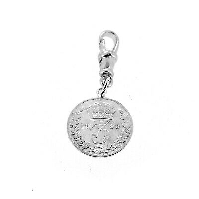 Sterling Silver 1890 Three Pence Coin Pocket watch or Albert Chain Fob Charm