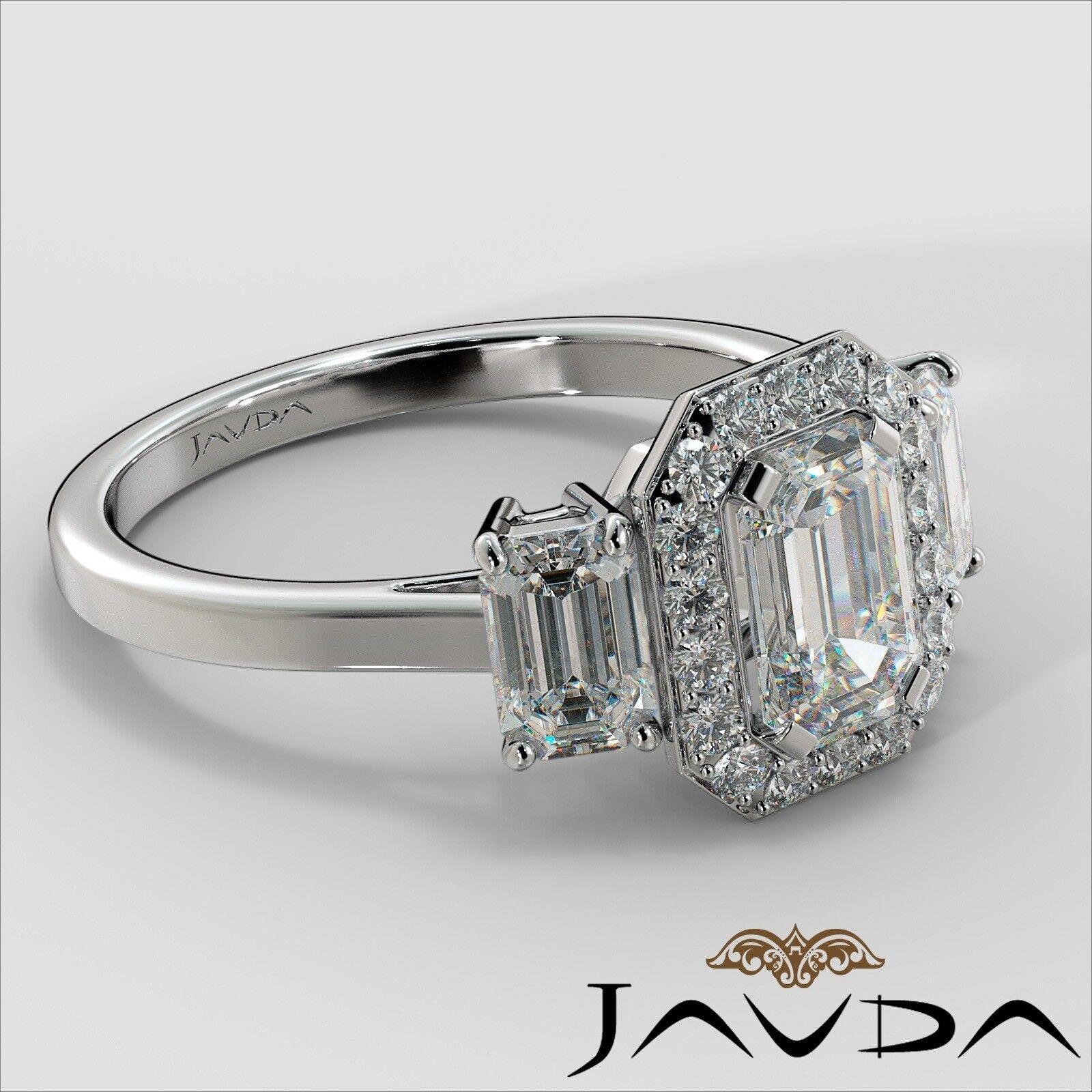 1.55ctw 3 Stone Halo Pave Emerald Diamond Engagement Ring GIA F-SI2 White Gold 2