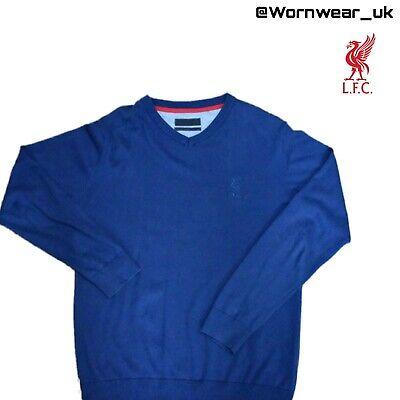 LIVERPOOL F.C. Navy Blue Men's V Neck Sweater Jumper Sz Medium