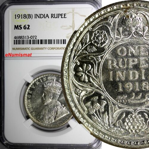 India-British George V Silver 1918 (B) 1 Rupee NGC MS62 KM# 524