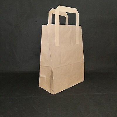 100 MEDIUM BROWN SOS KRAFT PAPER CARRIER BAGS WITH HANDLES