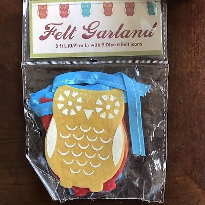 Autumn Fall Felt Owl Garland Banner 3 Feet New