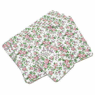 Set of 4 Placemats & Coasters Cork Table Place Settings Mats Vintage Floral Pink