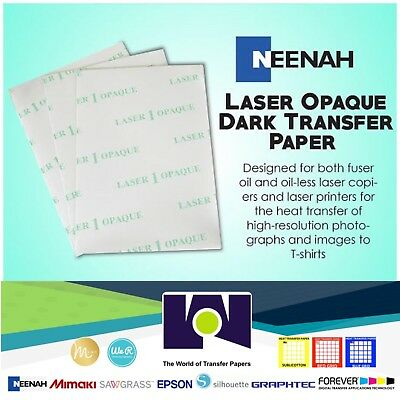 Laser Iron-on Heat Transfer Paper - For Darks 50pk Neenah 1 Opaque A4