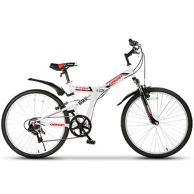 "26"" Folding Mountain Bike 7 Speed Bicycle Shimano Hybrid Suspension Sports White"
