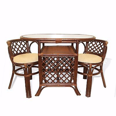 Dining Borneo Set of Oval Table w/Glass Top 2 Chairs Natural Rattan, Dark Brown