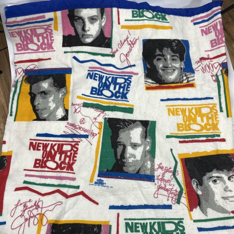 New Kids On The Block Throw Blanket Vintage Multicolored