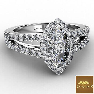 Halo Split Shank Marquise Diamond Engagement U Pave Set Ring GIA H VS2 1.75 Ct 1