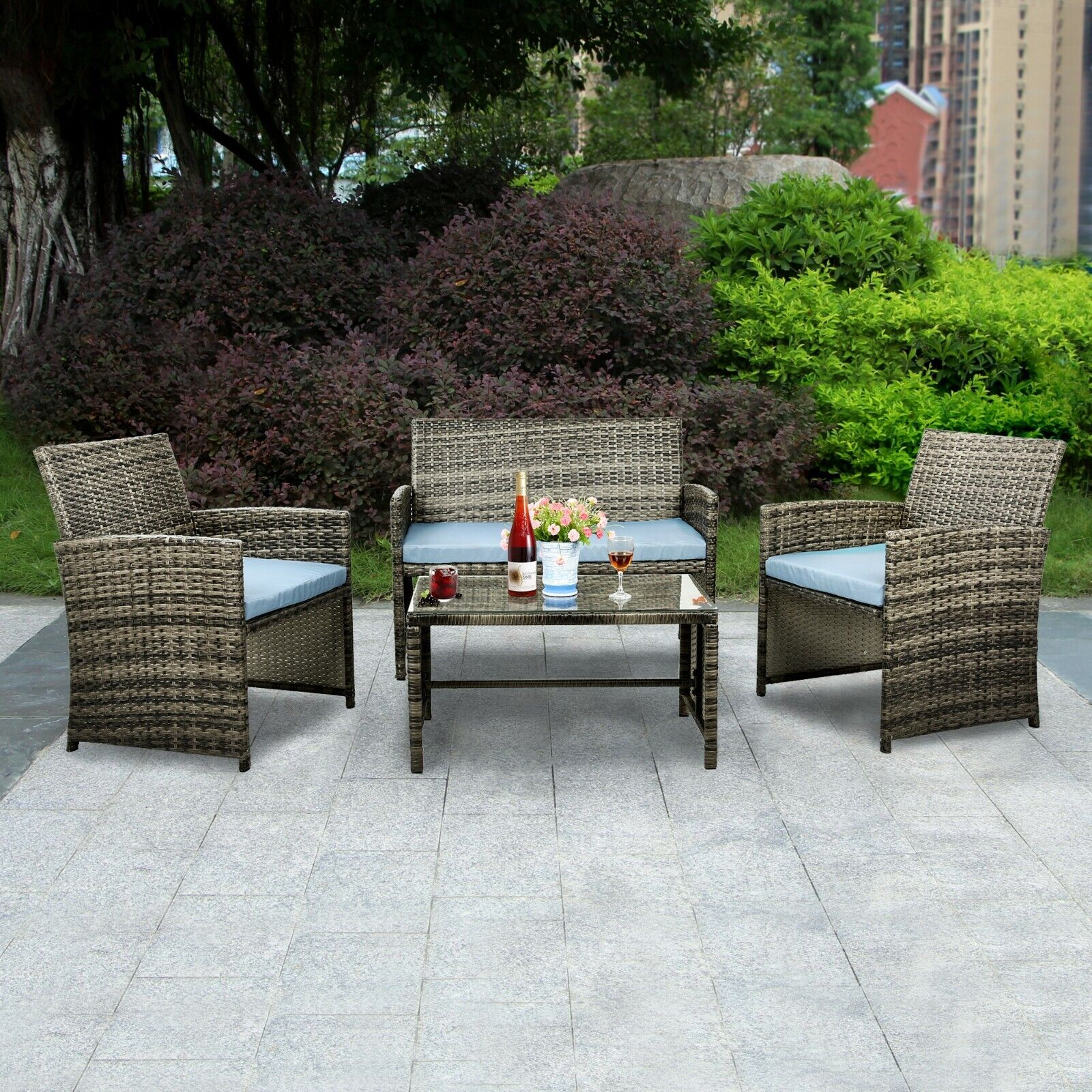 Garden Furniture - 4 PCS Outdoor Patio Rattan Wicker Furniture Set Table Sofa Cushioned Garden Deck