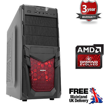 Computer Games - Ultra Fast AMD Quad Core HD 8GB DDR4 120GB SSD Gaming PC Computer Venom Red