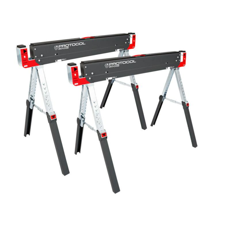 Protocol Equipment Ustable Metal Workbench Folding Steel Sawhorse, 2 Pack Sh-042