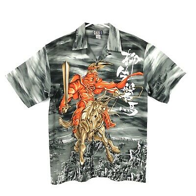 Trust Button Up Men L Polyester Shirt Japanese Samurai Warrior Horse Ninja - Ninja Button