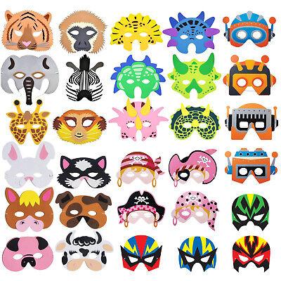 Childrens Animal Foam Face Masks - Jungle, Dinosaur, Farm - Party Bag - Jungle Animal Face Masks