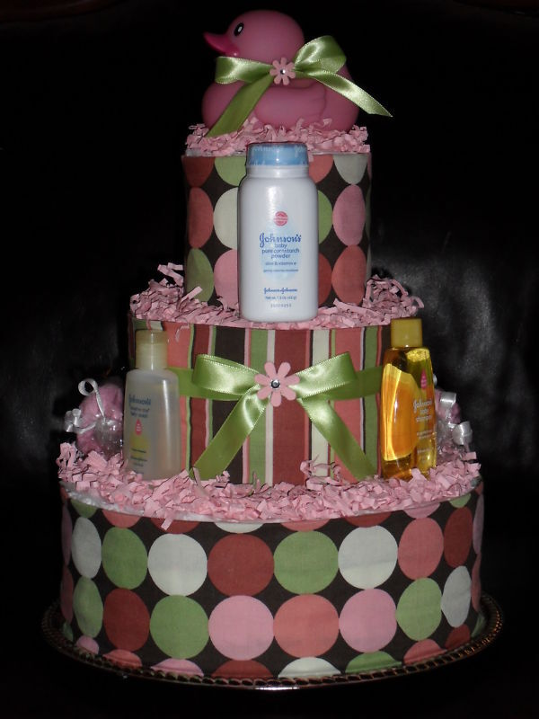 Pink & Brown Diaper Cake With Pink Rubber Duck