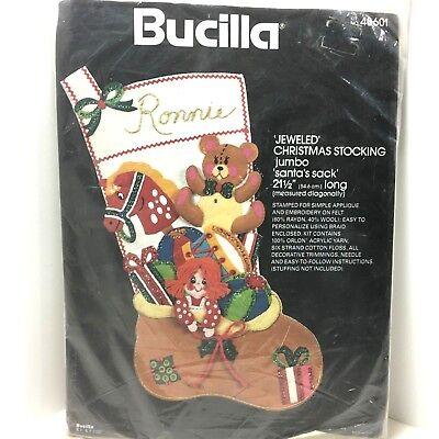 Bucilla Jeweled Christmas Stocking Jumbo Santas Sack 21.5