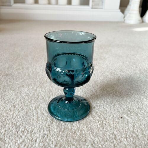 Vintage Teal Blue Small Indiana Glass Pedestal Stemware Goblet