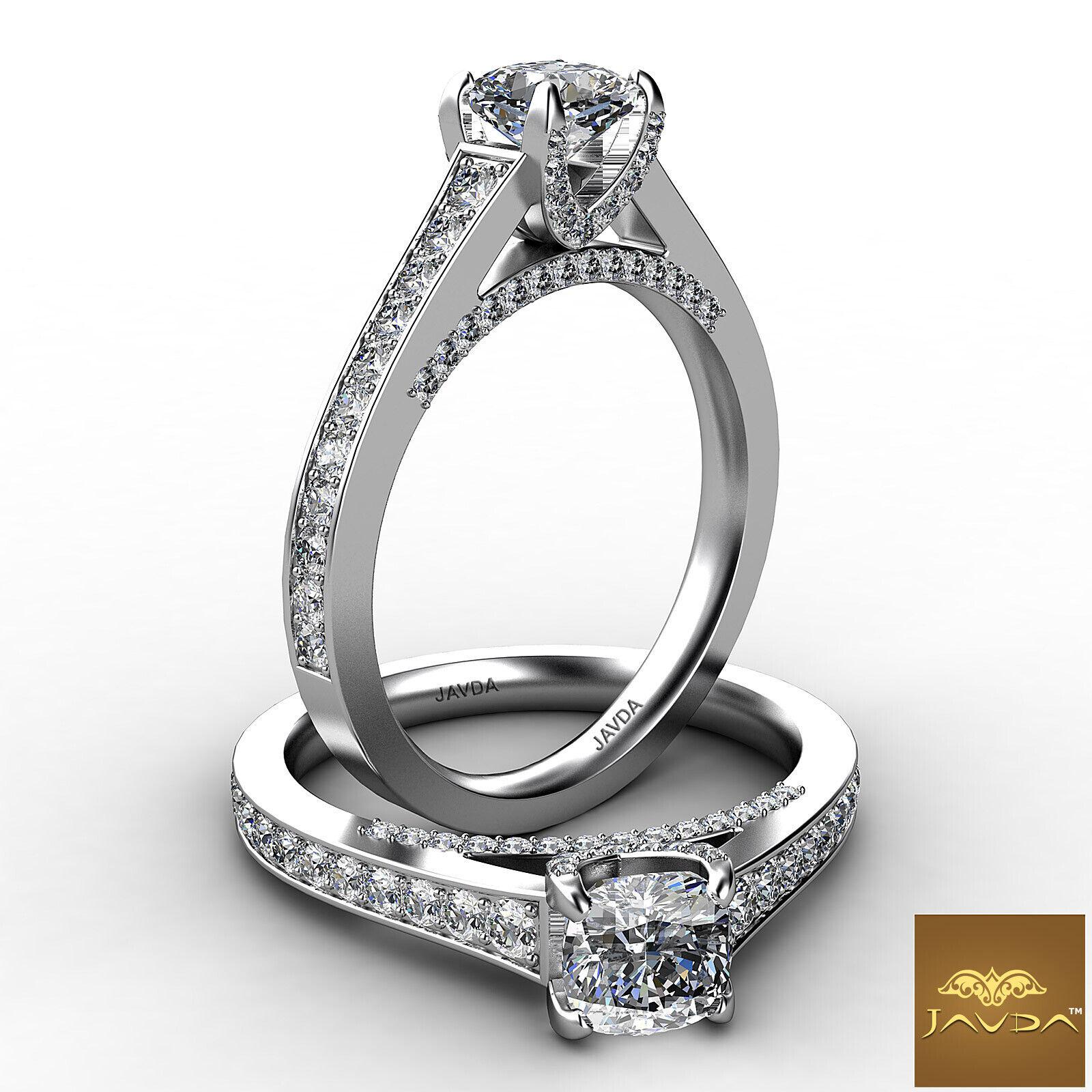 Bridge Accent Pave Set Cushion Diamond Engagement Wedding Ring GIA F VS2 1.25Ct