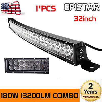 32 INCH 180W LED CURVED WORK LIGHT BAR FLOOD SPOT COMBO OFFROAD SUV ATV SLIM 4WD