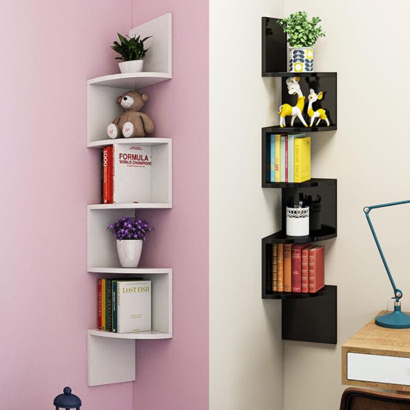 5 niveaux noir blanc mural zigzag coin tag re murale affichage bois unit ebay. Black Bedroom Furniture Sets. Home Design Ideas
