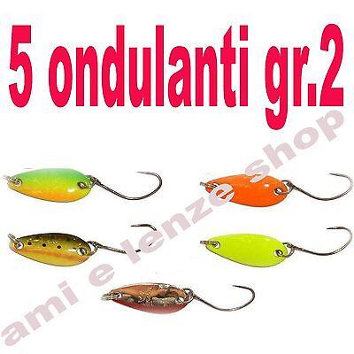 5 ondulanti gr. 2 mini spoon esca artificiale pesca trota lago laghetto trout ar