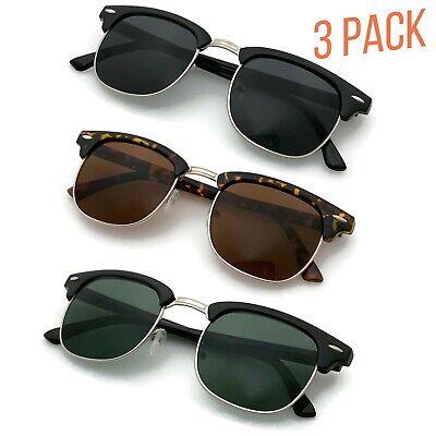 3 Pack Retro Fashion Half Frame Flash Mirror Lens Sunglasses Mirrored (Cheap Plastic Lenses)