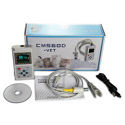 Vet Veterinary Pulse Oximeter Spo2 Pr Monitor Cms60dvet Probepc Sw Us Seller