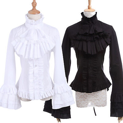 Medieval Renaissance Gothic Lolita Black White Flared Sleeves Blouses Shirt Top ()