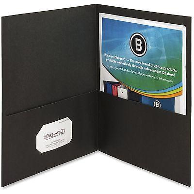 Business Source 2-pocket Folders 125 Sht Cap Letter 12x9 25bx Blk 78490