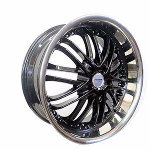 4 GWG Wheels 18 inch Black Chrome Lip AMAYA Rims fits 5x114.3 ET40 CB74.1