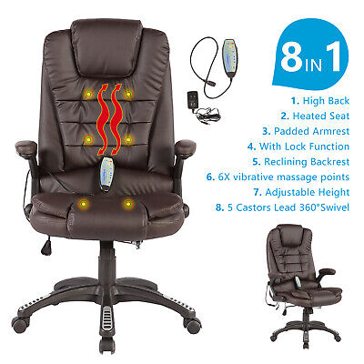 Heated Vibrating Massage Chair Executive Ergonomic Computer Office Desk Brown
