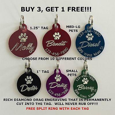 Custom Engraved Circle Paw Print Pet Tag Dog Cat ID Name Animal - 10 COLORS